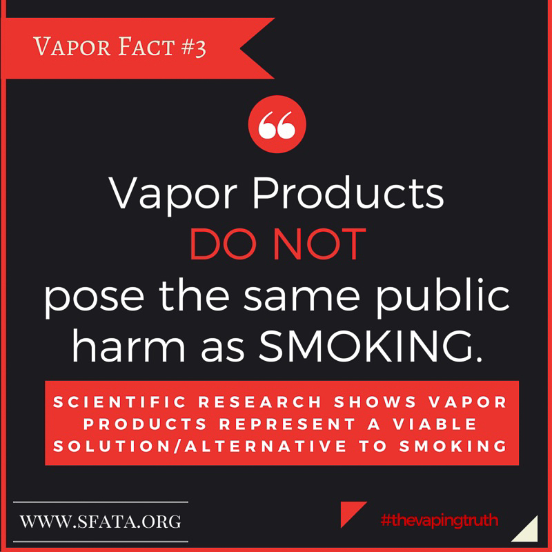 Vapor Products DO NOT pose the same public harm as SMOKING.