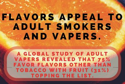 Flavors Appeal To Adult Smokers and Vapers. A Global Study of adult vapers revealed that 75% favor flavors other than tobacco with fruit (31%) topping the list. Vapor Shop Denver