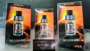 Now, SMOK brings you this magnificent power, completely changing your vaping experience. The TFV8, is the ultimate sub-ohm atomizer. The TFV8 utilizes 4 unique, patented Turbo Engines: V8-T8 (6.6T), V8-T6 (6.0T), V8-Q4 (5.0T), and the V8 RBA (4.0T-X). These add up to make the TFV8, a real Cloud Beast!, Vapor Shop Thornton
