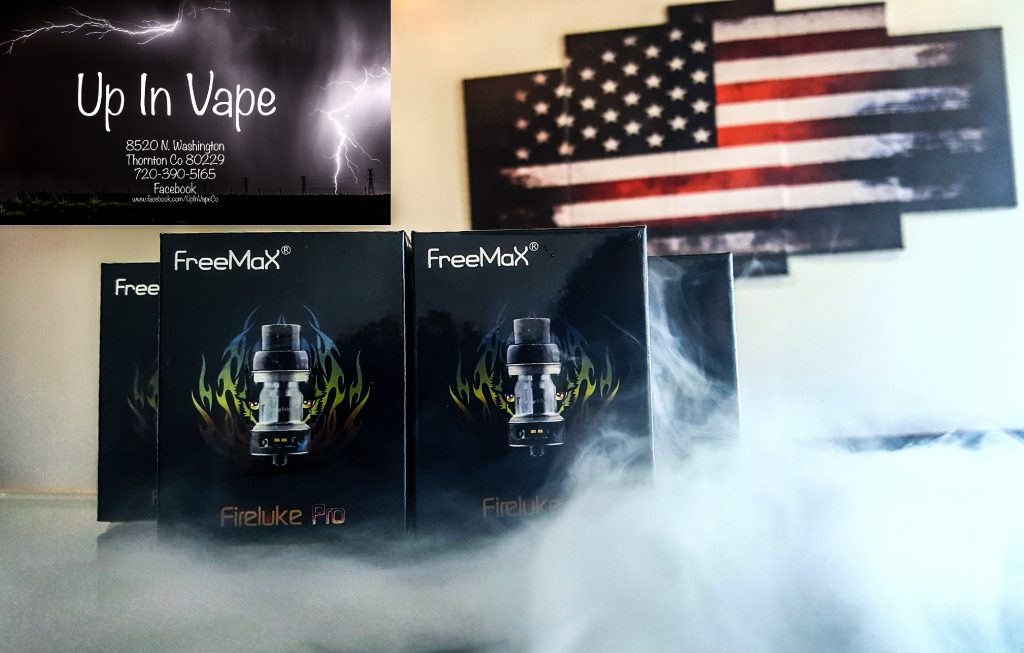 FreeMax Fireluke Pro Sub-Ohm Tank, a 25mm diameter, push to open top fill system, that utilizes mesh coil heads, and a complete resin construction. The Mesh Pro can accommodate up to 5ml of E-Liquid with the pre-installed tank and can accommodate up to 6ml with the larger bubble glass tank section. The Mesh Pro can easily be filled by pushing the top of the tank and exposing the fill port. E-Cig Thornton Colorado