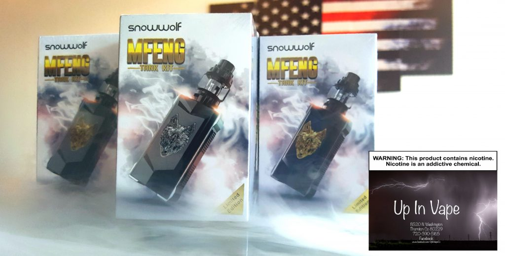 "The Snowwolf MFeng Kit is a dual battery box mod device with a luxurious metallic chassis and accents. With a massive 1.3"" TFT full color display and magnetized battery door, the MFeng holds to being a beast of luxury vaping. It includes a full temperature control suite E-Cig Thornton Colorado"
