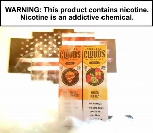 "Coastal Clouds Co. is an ejuice company offering premium eliquid collections, each with a plethora of masterfully crafted vape juice flavors for you to choose from. 60ml 0, 3, 6mg Blood Orange Mango Snow Cone: Set out toward the bold flavors of this refreshing Snow Cone bursting with a tangy Mango, tart Lemon and zesty Lime. Mango Berries: Grab the refreshing combination of local Tropical mango blended with splashes of Berries. Stop in and see us. 18 Years of age and older to Vape! ""WARNING: This product contains nicotine. Nicotine is an addictive chemical."" Vapor Shop Thornton Up In Vape"