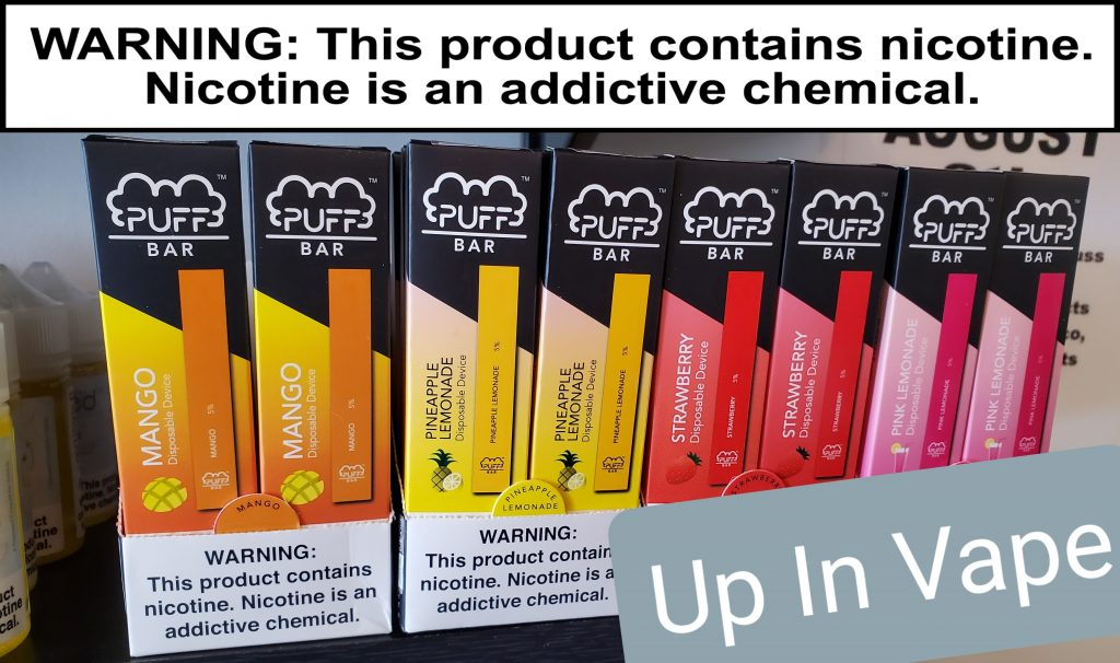 "Puff Bar In Stock now at Up In Vape. Pink Lemonade Strawberry Mango and More!! 21+ to Vape!! ""WARNING: This product contains nicotine. Nicotine is an addictive chemical."""
